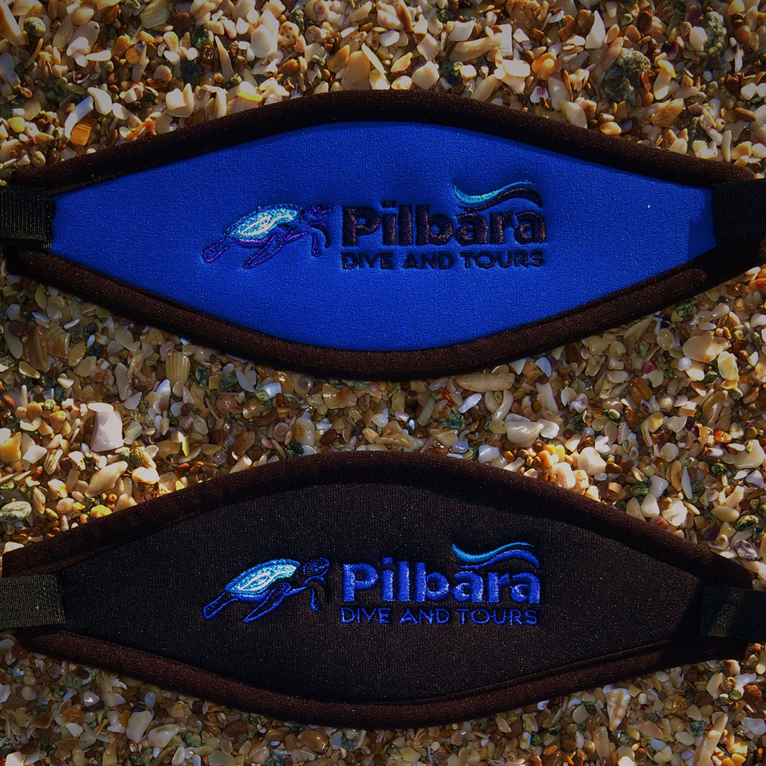 Pilbara Dive and Tours Velcro Mask Strap Blue